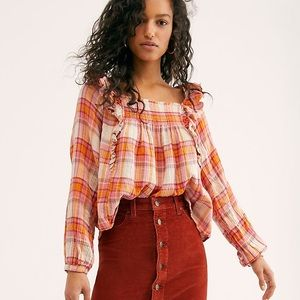 Free People Siena Plaid Pullover Tea Combo Size S